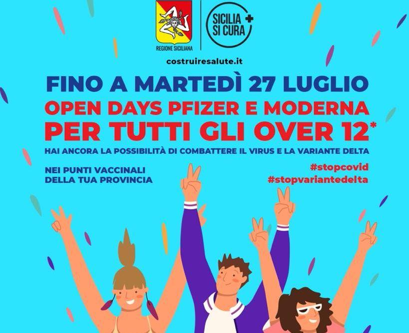 Vaccini, in Sicilia 'Open days' per gli over 12 fino al 27 luglio